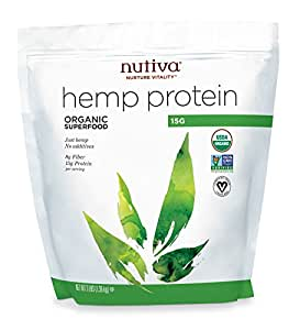 Nutiva Organic, Cold-Processed Hemp Protein from non-GMO, Sustainably Farmed Canadian Hempseed, 15 G, 3-Pound Bag