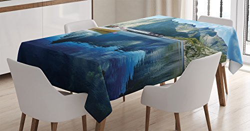 Arctic Sun Tabletop (Farm House Decor Tablecloth by Ambesonne, Sunset in Norwegian Lake by Fjords Formation Yacht Fishing Arctic Harbor Island, Dining Room Kitchen Rectangular Table Cover, 60 W X 84 L Inches, Blue)