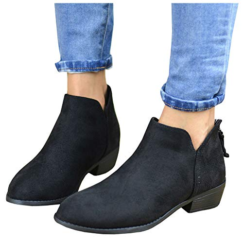 LAICIGO Cute Western Cowboy Bootie - Womens Pointed Toe Slip On Ankle Boot (Solid Back Zipper)