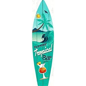 amazon com tropical bar metal novelty surf board sign sb 020 home