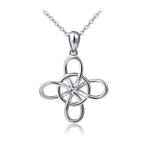 S925 Sterling Silver Good Luck Irish Infinity Circle Celtic knot, Rolo Chain 18