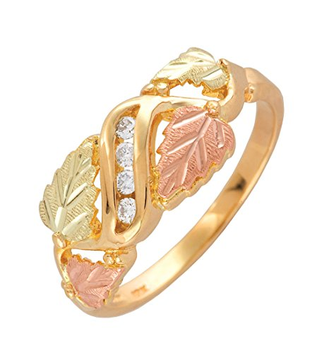 - 4-Stone Diamond and Grape Leaf Ring, 10k Yellow Gold, 12k Pink and Green Gold Black Hills Gold Motif, Size 8.25