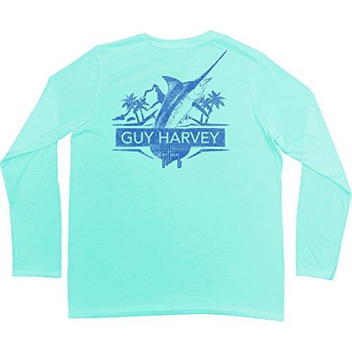 Guy Harvey Men's Warpaint Long Sleeve Performance Shirt, Mint, S