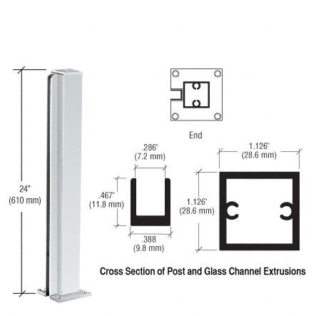 CRL Satin Anodized Standard 24'' End Partition Post by CR Laurence by C.R. Laurence (Image #1)