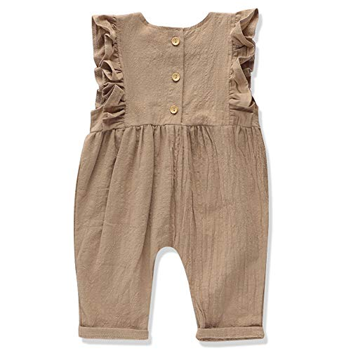 Newborn Baby Girl Clothes Floral Long Sleeve Footless Romper Jumpsuit Cotton 3-6 Months Brown
