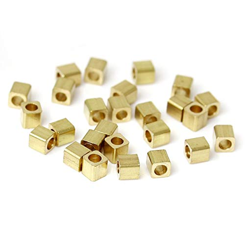 50 Pieces Copper Seed Beads Cube Golden DIY Findings About 2mm x 2mm, Hole: Approx 0.5mm ()
