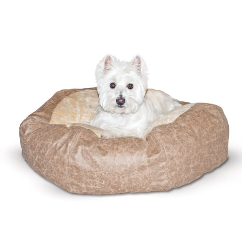 K&H Pet Products Self Warming Distress Cuddle Ball Pet Bed Large, Tan