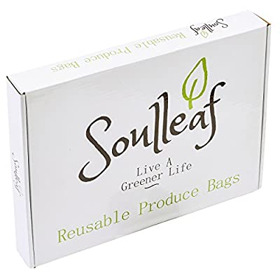Soulleaf BEST Reusable Produce Bags - For Grocery Shopping & Storage - Natural Cotton Mesh, Biodegradable, Premium Double-Stitched Seams, Machine Washable, Eco-Friendly, Set of 12 (5S, 4M, 3L)