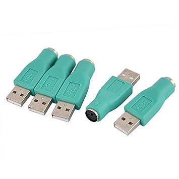 DealMux Teclado Mouse USB macho para PS / 2 Feminino conversor adaptador 5pcs Verde