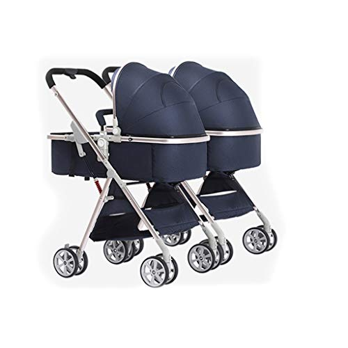 Boyang Double Stroller, Twin Tandem Stroller with Adjustable Backrest, Footrest, Foldable Design for Easy Transportation Can Be Split Into Two Separate Strollers