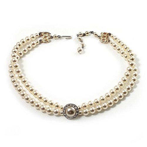6fedffbd643fa 2 Strand Pearl Style Wedding Choker Necklace (Snow White, Silver Tone)