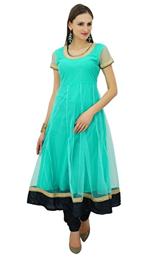 Dress Clothing Green Women Solid Indian Teal Wear Kurta Kurti Flai Tunic s Party Net Bimba Anarkali dXxWcwZOZq