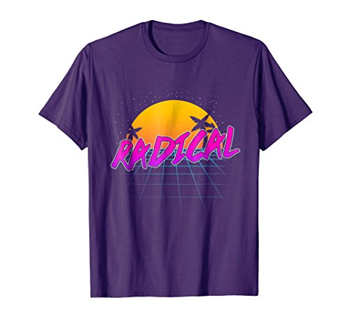 Mens Radical 80's Sunset, Grid and Palms T-shirt
