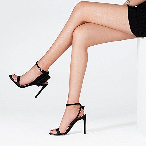 Punta Aguja Cuero 5cm De 22 Negro Zapatos Moda jp Mujer Eu Correa Tamaño 3 35 uk 5 Verano Negro Sandalias Tacón us color Jianxin BXq805x