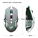 Rechargeable 2.4Ghz Wireless Gaming Mice with USB Receiver,7 Colors Backlit for MacBook,Computer PC,Laptop (600Mah Lithium Battery)-Gray (Color: T03 Gray, Tamaño: M)