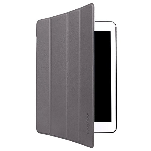 EasyAcc  iPad Air Case PU Leder Tasche Smart Cover Case Lederhülle hülle für 2013 iPad Air / Apple iPad 5 Generation Schutzhülle Ledertasche mit Standfunktion  Auto Sleep Wake up Funktion (Top Premium PU Leder, Grau,Ultra Thin)