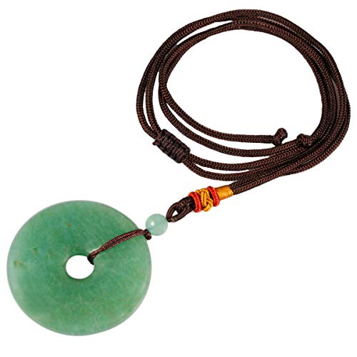 TUMBEELLUWA Healing Stone Pendant Crystal Necklace Chakra Quartz Cord Donut Shape Lucky Amulet Handmade Jewelry for Women Men,Green Aventurine ()