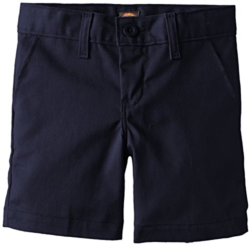 Dickies Khaki Little Boys' Flex Waist Stretch Flat Front Short, Dark Navy, 6 (Old Navy Khaki Pants)