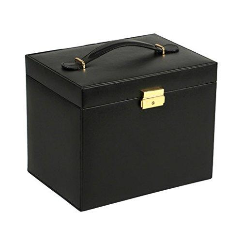 Premium Sleek & Stylish Large Black Jewelry Box with 28 Compartments & Key Lock, Travel Storage Organizer by WOLF