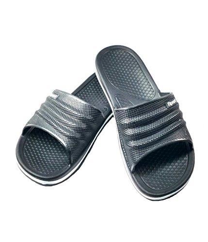 Mens Sandalo In Gomma Pantofola Cuscino Perfetto Doccia Scarpa Da Spiaggia Slip On Light As A Feather - Black Black