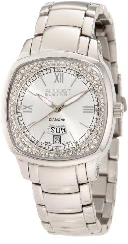 August Steiner Women's ASA816SS Day Date Diamond Swiss Quartz Watch