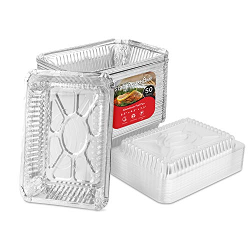 Aluminum Pans with Clear Lids - 2 Lb Disposable Takeout Food Containers...