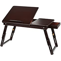 HOMFA Bamboo Laptop Desk Adjustable Portable Breakfast Serving Bed Tray with Tilting Top Drawer Dark Brown