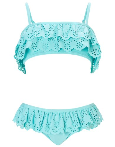 Monsoon Girls Fay Frill Lazer Cut Bikini Size 9-10 Years Blue