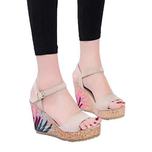 Ankle Strap Lined Platform - Pervobs Sandals Women Wedges Sandals Ankle Strap Straw Platform Buckle Strap Bohemian Sandal Shoes (5.5, Beige)