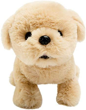 Beige BUER Plush Golden Retriever Electronic Interactive Toy Walking,Barking,Wagging Tail,Stretching Puppy Dog 7 Inches Gifts for Kids