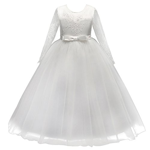 Flower Girl Junior Bridesmaid Long Sleeve Lace Party Wedding Formal Dance Maxi Gown Princess Sweetheart White Dress with Bow 6-7 -