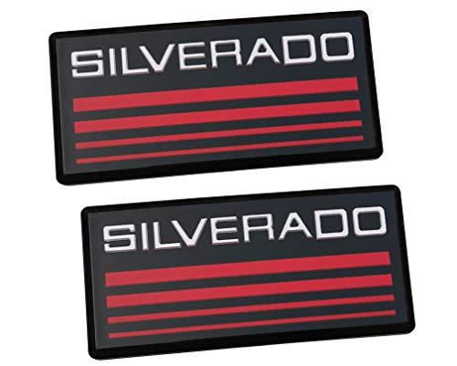 2x Chevy SILVERADO Cab Emblem Badge Side Roof Pillar Decal Plate Replacement for Silverado 88-98 90 91 Suburban Tahoe C/K Series Blazer (Red) (Badge Chevy Silverado)