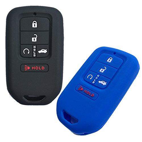 Alegender Qty(2) 5Btn Smart Key Fob Remote Covers Case Holder Jacket for 2018 2017 2016 2015 Honda Accord Civic CR-V CRV Pilot EX EX-L Touring Premium