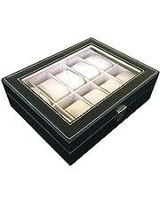 صندوق منظم للجواهر والساعات من الجلد بتصميم فخم عالي الجودة 10 اقسام وملائم للرجال، اسود
