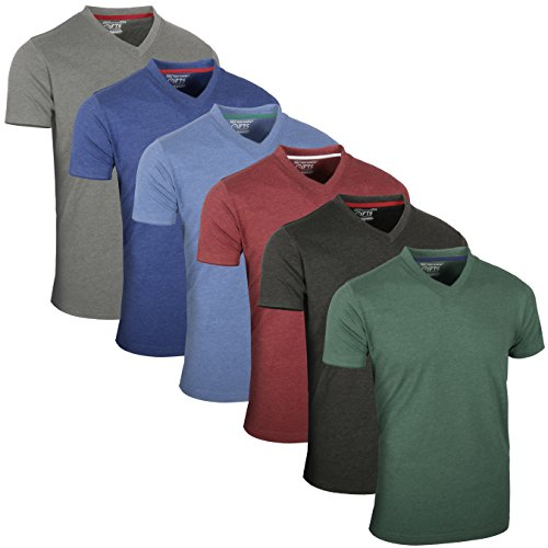 FULL TIME SPORTS® Tech 4 6 Pack einfarbige langärmlige Kurzarm Top V-Ausschnitt Herren T-Shirts
