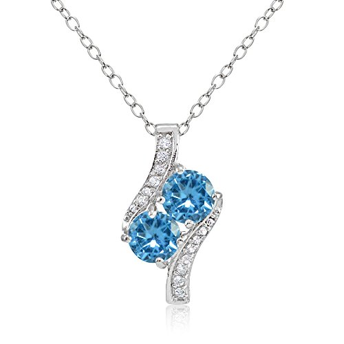 - Sterling Silver Simulated Blue Topaz Round Two Stone and CZ Accents Necklace