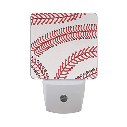 xiaodengyeluwd 2 Pack Baseball Laces White LED Sensor Night Light Super Bright Power Dusk to Dawn Sensor Bedroom Kitchen Bathroom Hallway Toilet Stairs Energy Efficient Compact