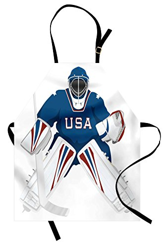 Lunarable Sports Apron, USA Hockey Goalie Protection Jersey Sport Wear Activity Hobby Illustration, Unisex Kitchen Bib Apron with Adjustable Neck for Cooking Baking Gardening, Burgundy ()