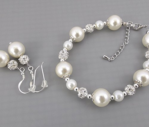 Ivory or White Pearl Bridesmaid Bracelet and Earrings Set Sterling Silver//Pearl Bridal Jewelry//Bridesmaid Gift//Wedding Jewelry