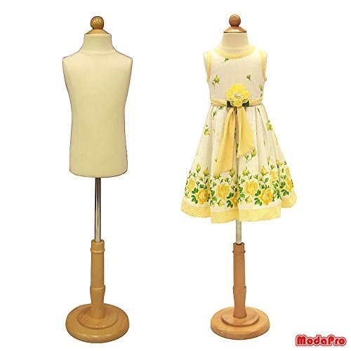 (JF-C3-4T) 3-4 Years Old Child/Kids Body Dress Form Mannequin White Jersey Form Cover with Wooden Base(C3-4T) by Roxy Display Inc.