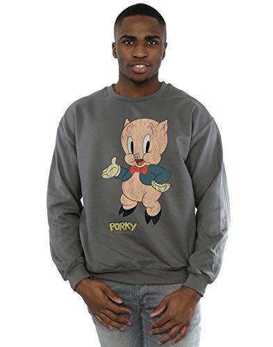 Looney Tunes Men's Porky Pig Distressed Sweatshirt Charcoal Large