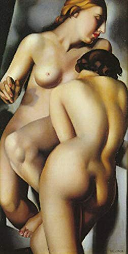 Handpainted Reproduction Tamara de Lempicka 45X90 cm (Approx. 18X36 inch) - The Two Friends Nude Paintings Canvas Wall Art Polished Art Deco Graphic Post-Cubist Neoclassical Poster Rolled