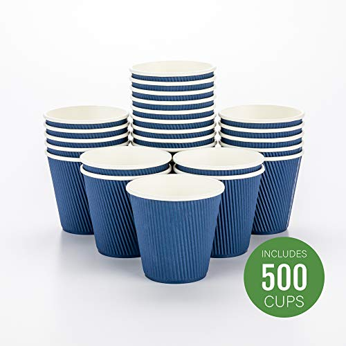 Disposable Paper Hot Cups - 500ct - Hot Beverage Cups, Paper Tea Cup - 8 oz - Midnight Blue - Ripple Wall, No Need For Sleeves - Insulated - Wholesale - Takeout Coffee Cup - Restaurantware 8 Oz Hot Tea