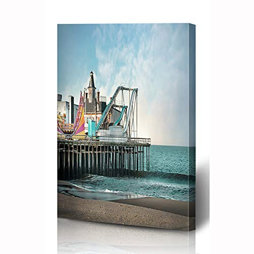 Ahawoso Canvas Prints Wall Art 8x10 Inches Sand Boardwalk Seaside Heights Nj Amusement Parks Seashore Jersey Vintage Shore Beach Sandy Summer Wooden Frame Printing Home Living Room Office ()