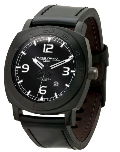 Jorg Gray JG1020-11 Men's Watch Japan Miyota Movt Black Dial Black Leather Strap Luminous Dial Markers