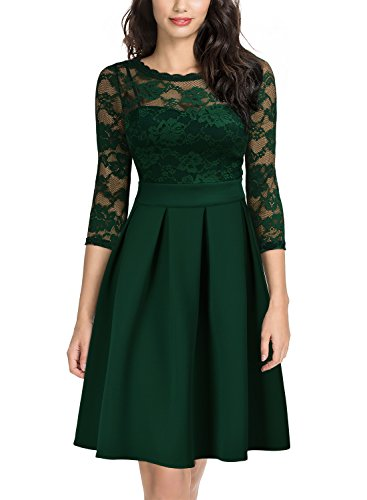 Miusol Women's Vintage Floral Lace 2/3 Sleeve Cocktail Party Swing Dress, Dark Green, Large