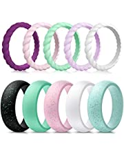 Forthee 10 Pack Silicone Wedding Ring for Women, Thin and Braided Rubber Band, Fashion, Colorful, Comfortable fit, Skin Safe