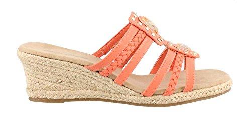 Bazinga Espadrille Sandale Compensée Corail
