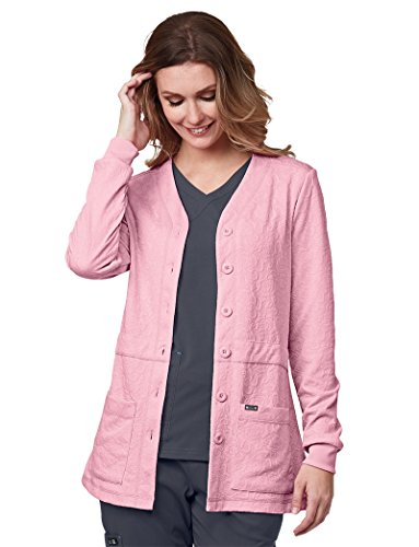 Floral Knit Cardigan - KOI Lite Women's Claire Button Front Solid Cardigan Scrub Jacket Large Blush