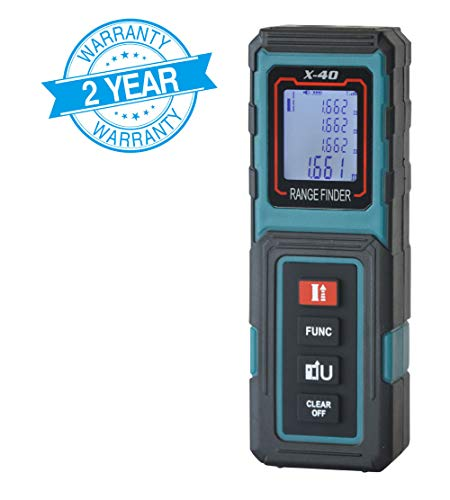 MAKINGTEC Laser Measure 131Ft Mini Laser Distance Measure, Pythagorean Mode and LCD Backlight Display, Volume and Area Measurement Digital Laser Tape Measure X40 Color Blue